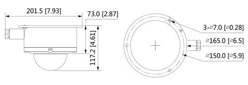 Wymiary kamery IP AI Dahua w obudowie antywybuchowej (mm [cale]).