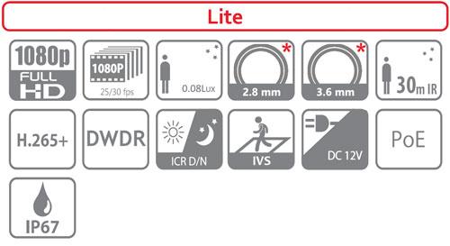 DH-IPC-HDW1230S - Ikonki specyfikacji kamery IP.