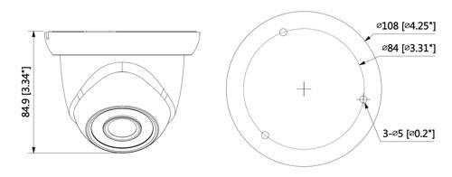 DH-IPC-HDW1531S-0280B - Wymiary kamery megapikselowej (mm [cale]).