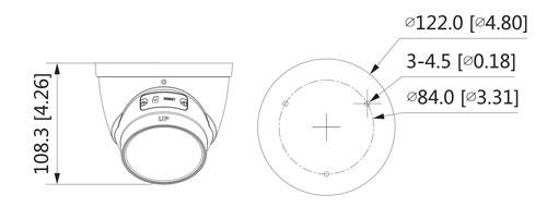 Wymiary kamery IPC Lite (mm [cale]).