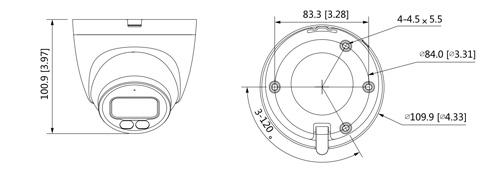 Wymiary kamery IP Dahua podane w milimetrach i calach.