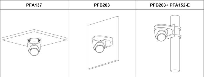 Przykłady instalacji kamery Dahua TiOC z uchwytami.
