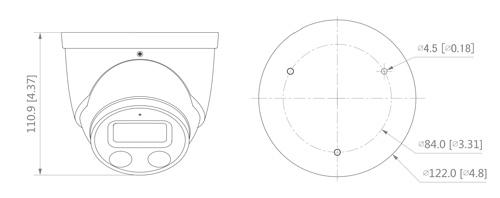 Wymiary kamery IP Dahua TiOC podane w milimetrach i calach.