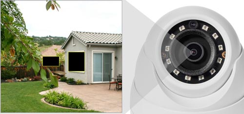 DH-HAC-HDW1220MP-0280B - Przykładowe zastosowanie stref prywatności w kamerze Dahua.