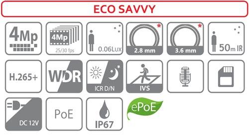 HDW4431EM-ASE - Ikonki specyfikacji kamery IP.