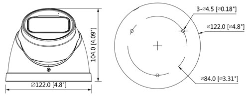 HAC-HDW1500T-Z-A-2712 - Wymiary kamery Dahua (mm [cale]).