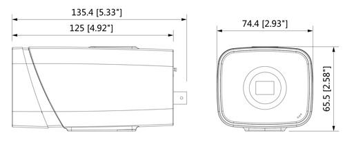 Wymiary kamery IP box Dahua podane w milimetrach i calach.