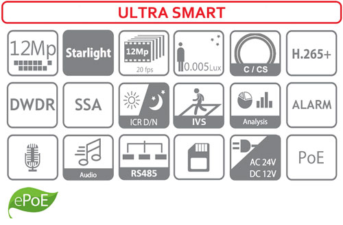 DH-IPC-HF81230E-E - Ikonki specyfikacji kamery IP.