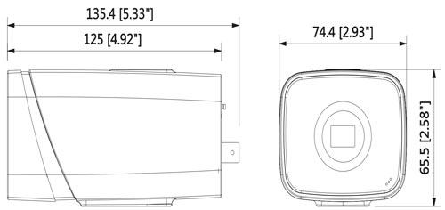 DH-IPC-HF81230E - Wymiary kamery megapikselowej (mm [cale]).