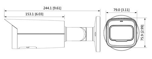 Wymiary kamery IP Dahua podane w milimetrach i w calach.
