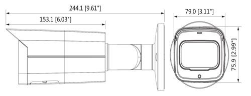 Wymiary kamery megapikselowej (mm [cale]).