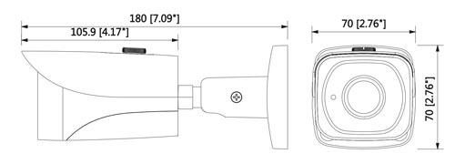DH-IPC-HFW4431E-0360B - Wymiary kamery megapikselowej (mm [cale]).