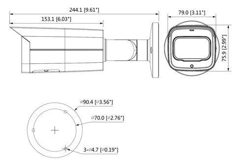 Wymiary kamery IPC Pro AI (mm [cale]).