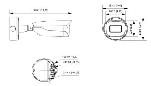 Wymiary kamery IPC WizMind Ultra podane w milimetrach i calach.