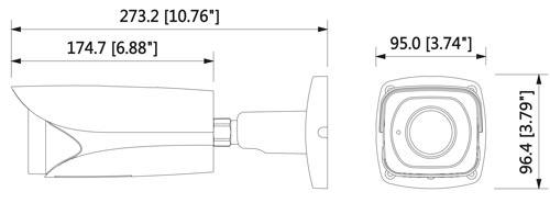 DH-IPC-HFW81230E-ZH - Wymiary kamery megapikselowej (mm [cale]).