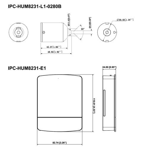 IPC-HUM8231-E1 + IPC-HUM8231-L1-0280B - Wymiary (mm [cale]).