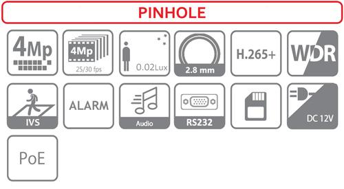 IPC-HUM8431-E1 + IPC-HUM8431-L1-0280B - Ikonki specyfikacji kamery IP.