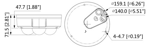 Wymiary kamery IPC (mm [cale]).