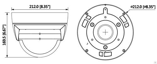 DH-IPC-PDBW8800P-A180-H - Wymiary kamery IP Multi Sensor (mm [cale]).
