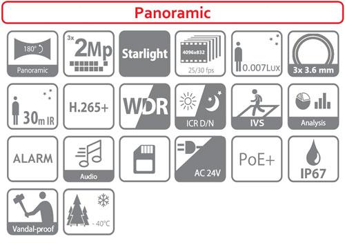 DH-IPC-PFW8601P-H-A180 - Ikonki specyfikacji kamery IP.