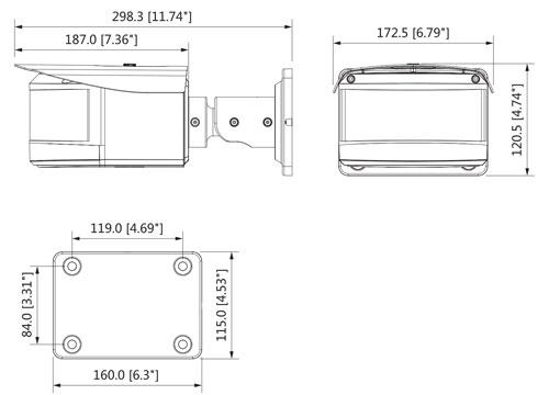 DH-IPC-PFW8601P-H-A180 - Wymiary kamery IP Multi Sensor (mm [cale]).