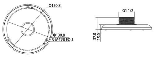 DH-PFA100 - Wymiary adaptera w milimetrach.