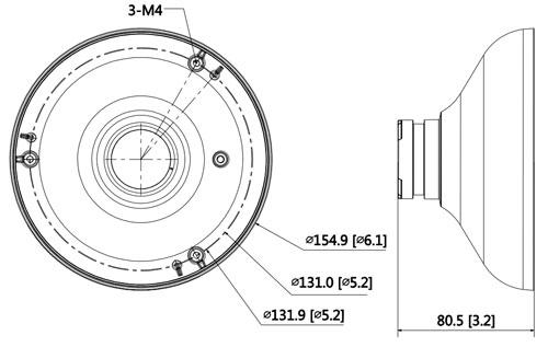 DH-PFA105 - Wymiary adaptera montażowego.