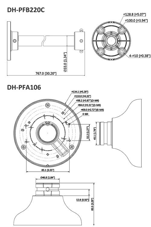 DH-PFA106 + DH-PFB220C - Wymiary uchwytu sufitowego.