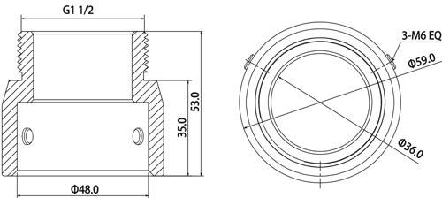 DH-PFA110 - Wymiary uchwytu łączącego (mm).