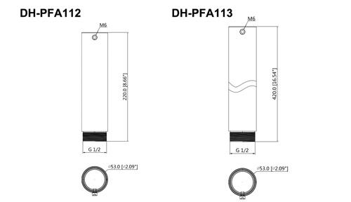 DH-PFA112 / DH-PFA113 - Wymiary przedłużki w mm [cale].