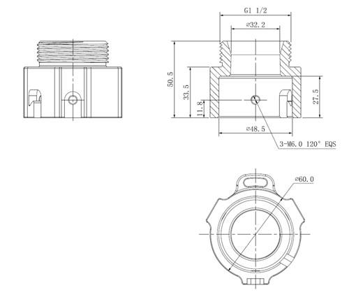 DH-PFA114 - Wymiary uchwytu łączącego (mm).