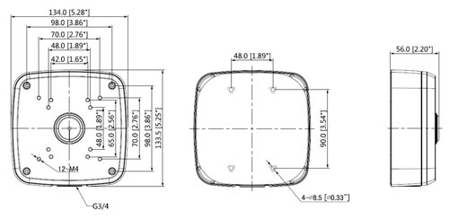 DH-PFA121 - Wymiary uchwytu do kamer (mm).