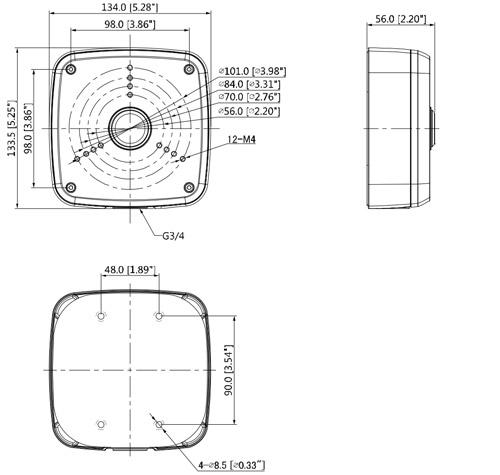 Wymiary puszki montażowej Dahua podane w milimetrach i calach.