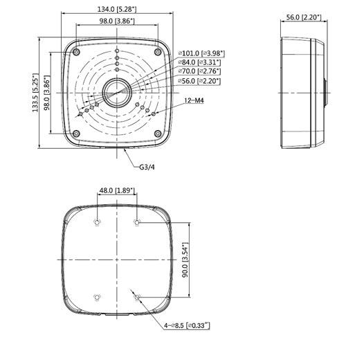 DH-PFA122 - Wymiary uchwytu do kamer (mm).