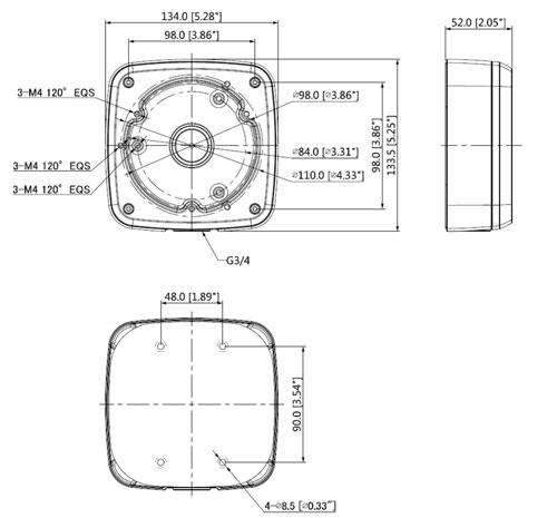 DH-PFA123-V2 - Wymiary uchwytu do kamer (mm)