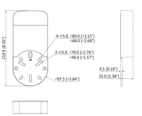 DH-PFA12A - Wymiary uchwytu do kamer Dahua.