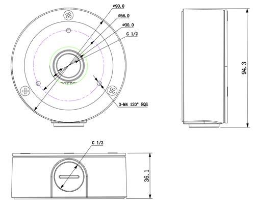 DH-PFA134 - Wymiary uchwytu do kamer (mm).