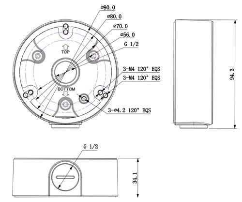 DH-PFA135 - Wymiary uchwytu do kamer (mm).