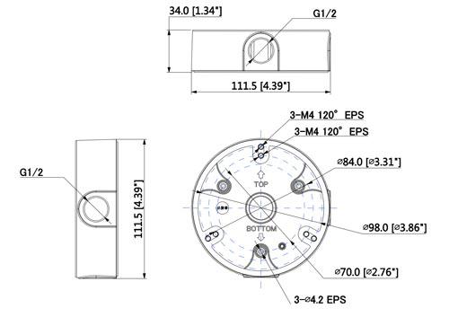 DH-PFA136 / DH-PFA136-BLACK - Wymiary uchwytu do kamer (mm).