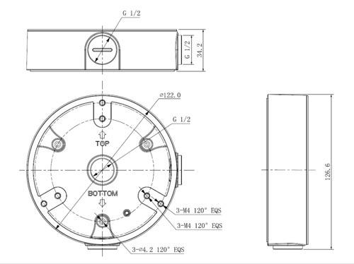 DH-PFA137 - Wymiary uchwytu do kamer (mm).