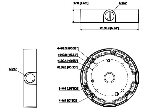 DH-PFA138 - Wymiary uchwytu do kamer (mm).