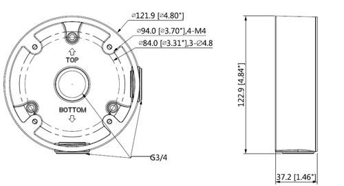 DH-PFA13C - Wymiary uchwytu do kamer (mm [cale]).