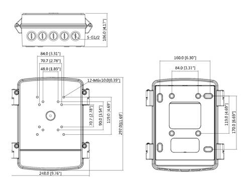 DH-PFA140 - Wymiary puszki montażowej (mm[cale]).