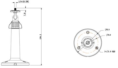 DH-PFB110W - Wymiary uchwytu do kamer box.