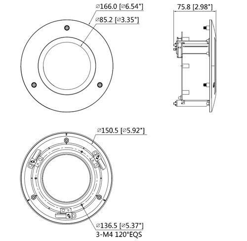 DH-PFB200C - Wymiary adaptera montażowego.