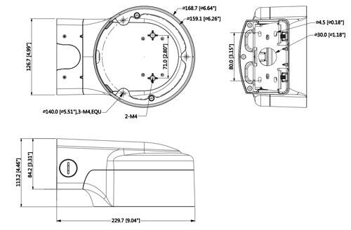 DH-PFB210W - Wymiary uchwytu do kamer (mm).