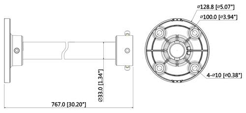 Wymiary statywu montażowego Dahua.