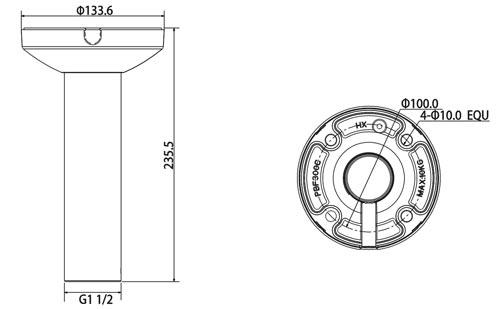 DH-PFB300C - Wymiary uchwytu sufitowego.