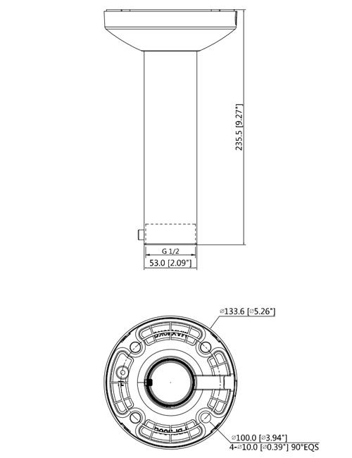 DH-PFB300C - Wymiary uchwytu sufitowego w mm (cale).