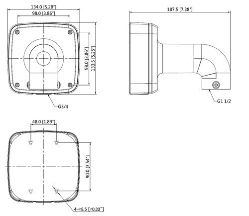 DH-PFB302S-V2 - Wymiary uchwytu do kamer (mm).